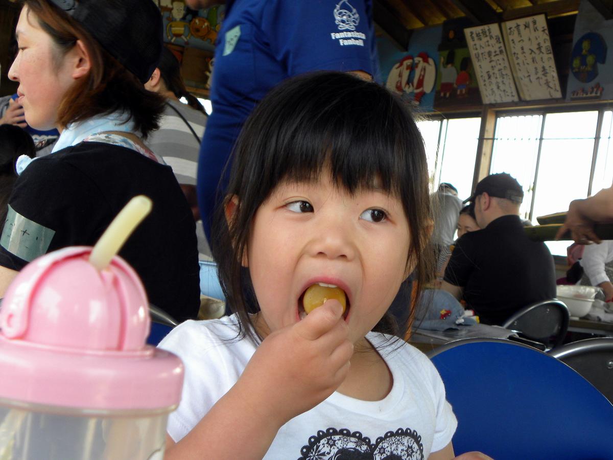 みたらし団子を食べている女の子の写真