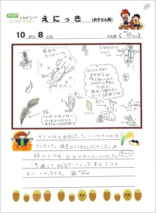 参加したお子さんの絵日記の写真