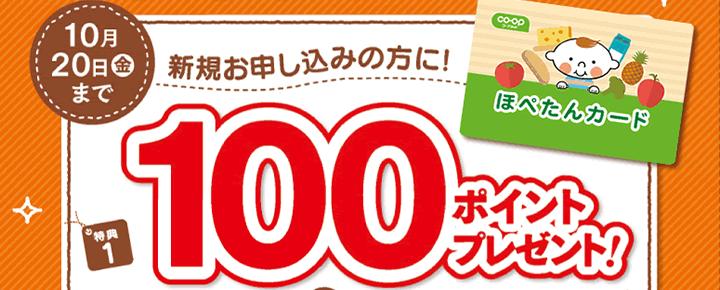 10月20日金曜まで 新規お申し込みの方に!特典1 100ポイントプレゼント!