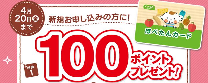 4月20日金曜まで 新規お申し込みの方に! 特典1 100ポイントプレゼント!
